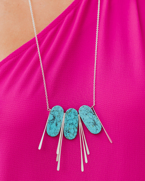If The Crown Fits Statement Necklace - Silver/Turquoise - FINAL SALE