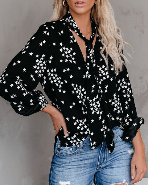 I'll Be The Moon Surplice Tie Blouse - Black - FINAL SALE