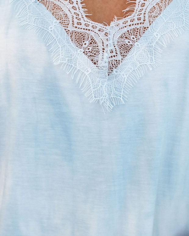 Imagination Tie Dye Lace Knit Cami Tank - Blue Candy