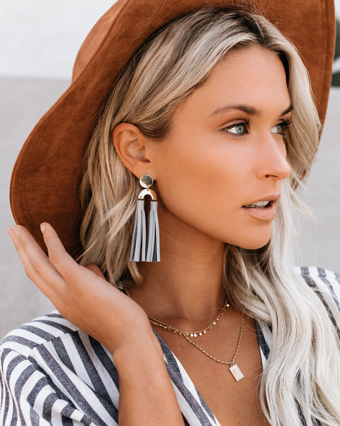 I'm All Shook Up Tassel Earrings - Grey