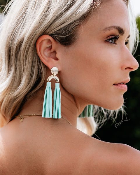 I'm All Shook Up Tassel Earrings - Mint