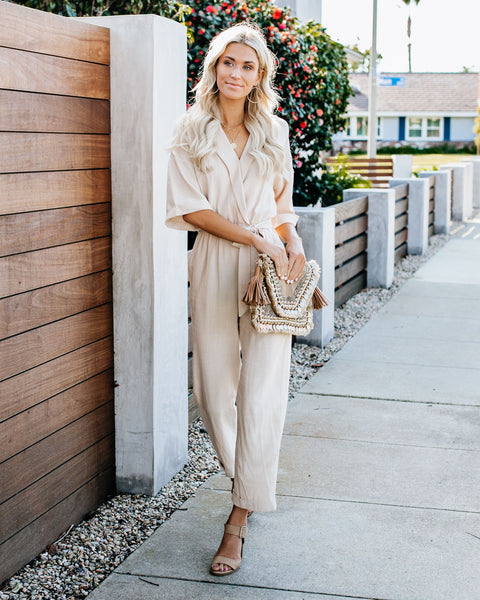 I'm Busy Linen Blend Pocketed Jumpsuit