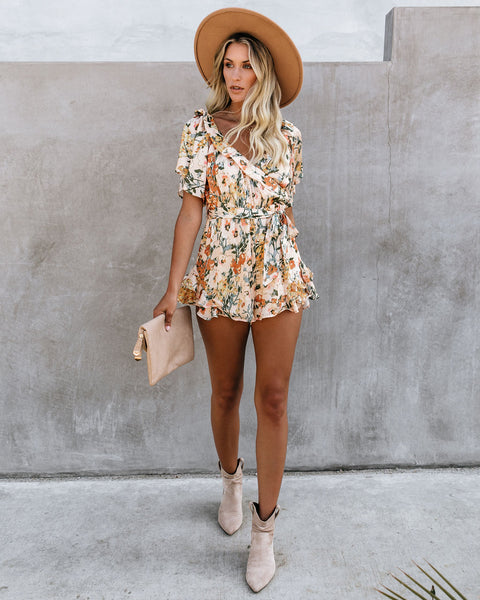 Impress Me Much Floral Satin Ruffle Romper