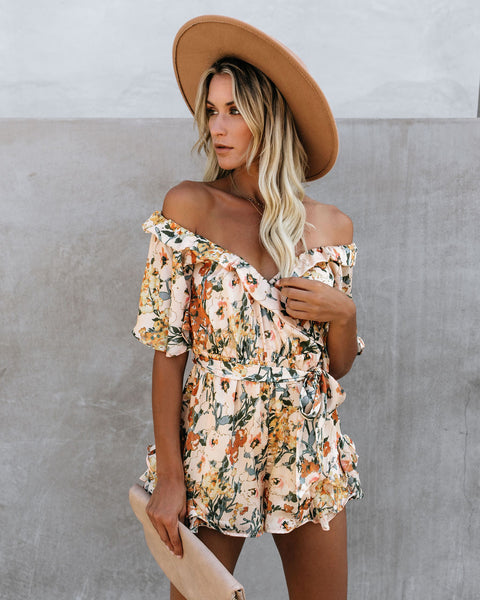 PREORDER - Impress Me Much Floral Satin Ruffle Romper