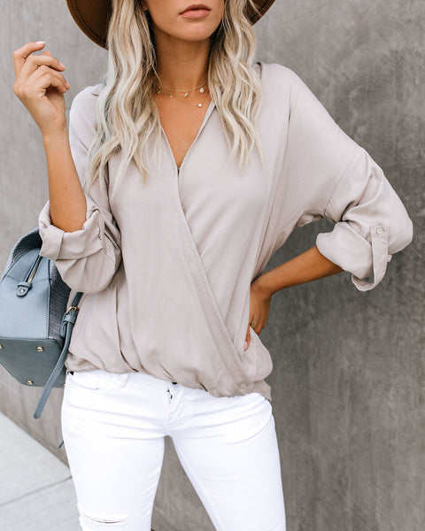 In A Nutshell Collared Surplice Top - Taupe