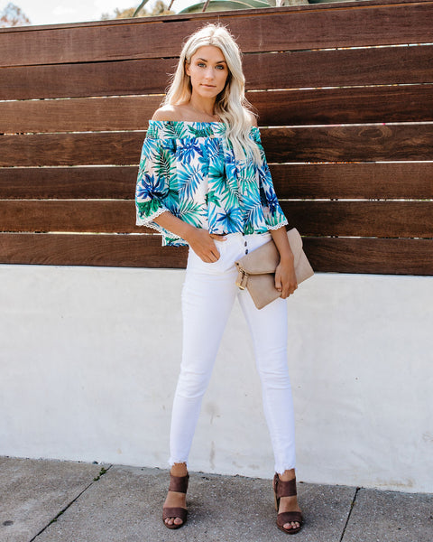Indian Wells Palm Printed Off The Shoulder Top