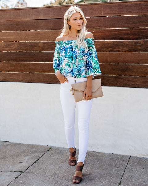 Indian Wells Palm Printed Off The Shoulder Top - FINAL SALE