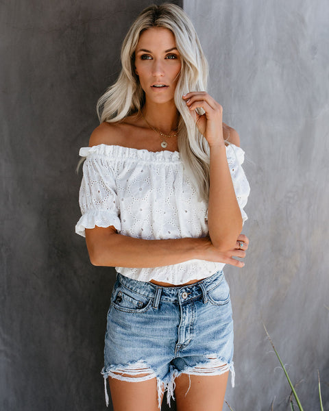 Indie Cotton Eyelet Off The Shoulder Crop Top - White - FINAL SALE