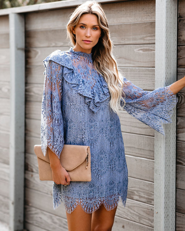 Indigo Scalloped Lace Ruffle Dress - FINAL SALE