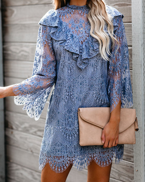 Indigo Scalloped Lace Ruffle Dress