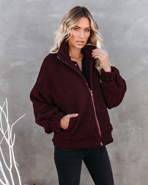 Indio Pocketed Sherpa Jacket - Burgundy - FINAL SALE