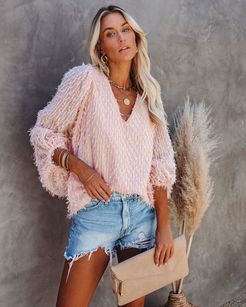 In Fine Feather Balloon Sleeve Blouse - Blush