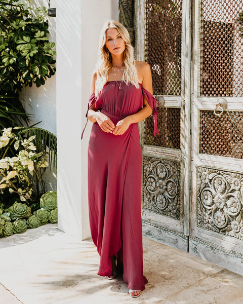 Infinity Off The Shoulder Maxi Dress - Burgundy