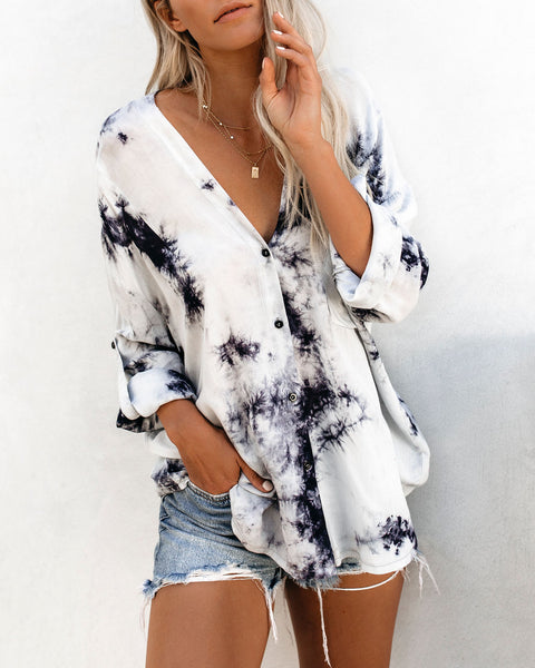 Ink Spell Button Down Tie Dye Top