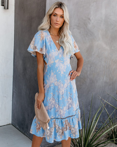Insider's Guide Lace Cut Out Midi Dress - Blue