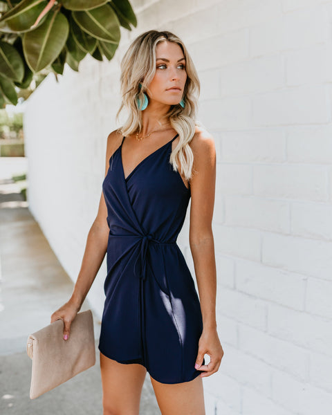Instant Gratification Pocketed Wrap Dress - Navy