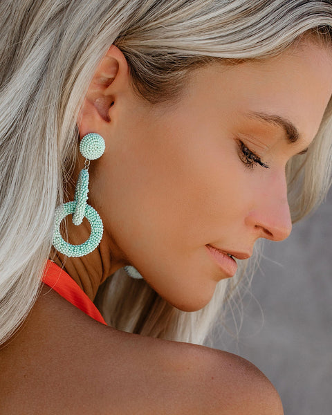 Interlink Beaded Earrings - Mint