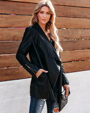 Intertwined In Love Pocketed Faux Leather Drape Jacket - FINAL SALE