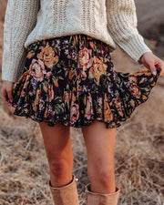 In That Very Moment Floral Ruffle Mini Skirt view 5