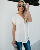 In The City Button Down Top - White