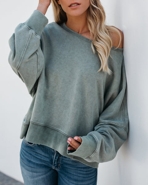 In The Clouds Open Back Sweater - Pistachio