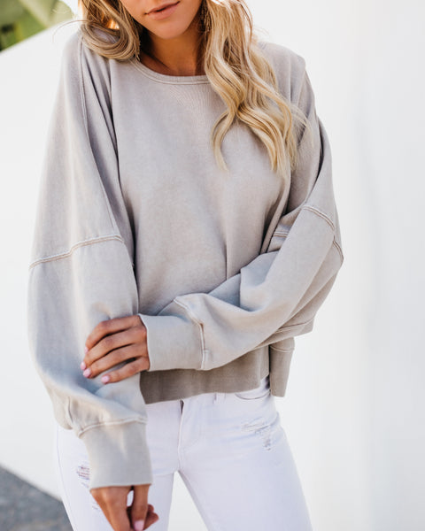 In The Clouds Open Back Sweater - Taupe