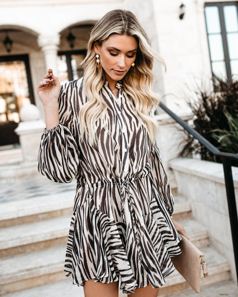 In The Jungle Adjustable Balloon Sleeve Dress - FINAL SALE