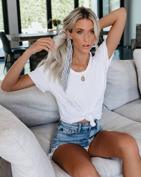 In The Stretch Cutout Tee - White