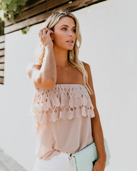 Intricate Details Cut Out Strapless Top - Blush