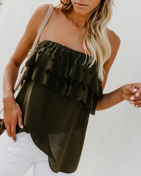 Intricate Details Cut Out Strapless Top - Olive