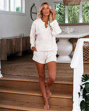 Inverted Pocketed Knit Shorts - Cream - FINAL SALE