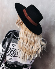 Isadora Boater Hat - Black