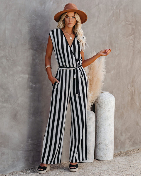 Isla Cotton Blend Pocketed Striped Woven Jumpsuit