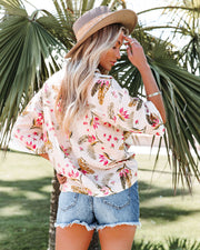 Island Time Linen Blend Floral Button Down Top view 2
