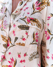 Island Time Linen Blend Floral Button Down Top view 4