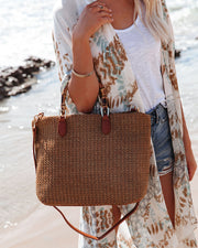 Isla Straw Crossbody Tote Bag - Tan view 4