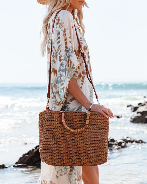 Isla Straw Crossbody Tote Bag - Tan view 2
