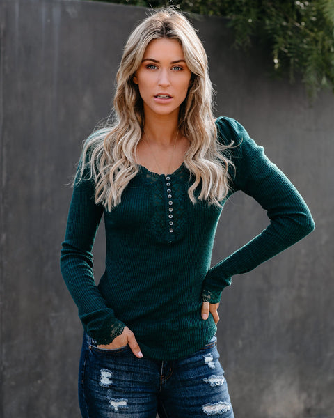 Isn't It Romantic Lace Henley Top - Teal Green