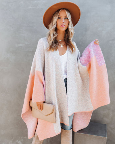 It's All About Fall Colorblock Knit Poncho - Purple Multi