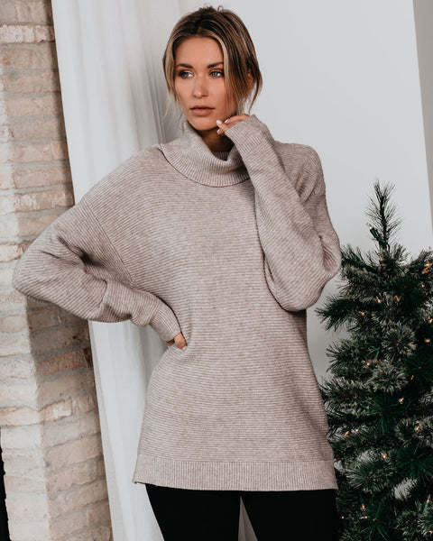 It's A Must Ribbed Turtleneck Sweater - Heather Stone - FINAL SALE