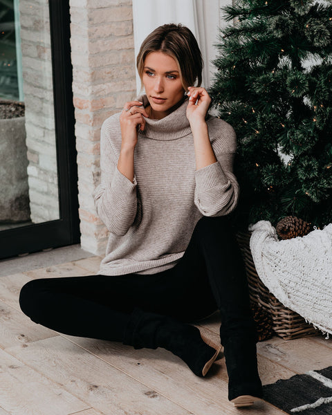 It's A Must Ribbed Turtleneck Sweater - Heather Stone