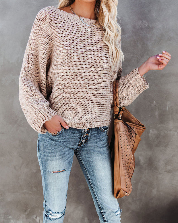 It's Cool Boat Neck Sweater - Sand