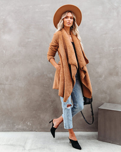 It's So Fluffy Pocketed Drape Jacket