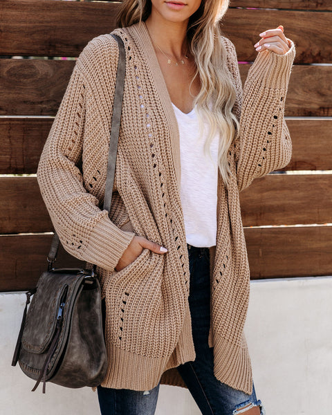 It's Tradition Pocketed Knit Cardigan - Tan