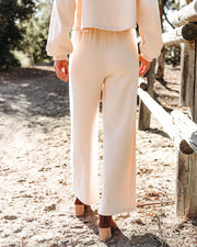 Izzy Cotton Blend Pocketed Wide Leg Pants - Natural - FINAL SALE view 2