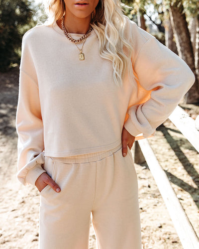 Izzy Cotton Blend Cropped Long Sleeve Top - Natural - FINAL SALE