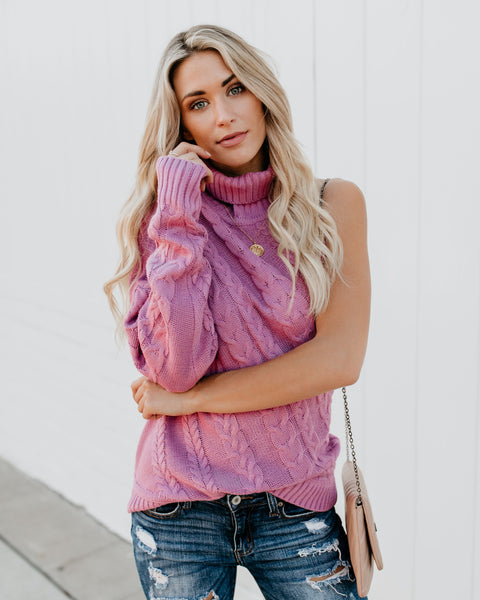 Jack Frost Cable Knit One Sleeve Sweater - Lilac