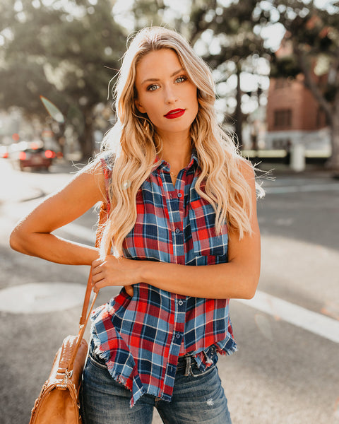 Jack Plaid Frayed Button Down Top