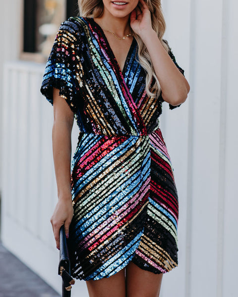 Jackpot Short Sleeve Sequin Dress- FINAL SALE