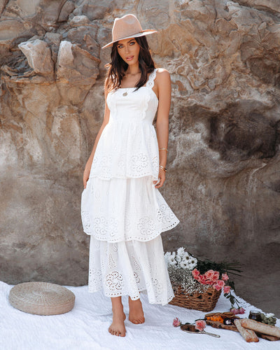 Jadene Cotton Eyelet Tiered Maxi Dress